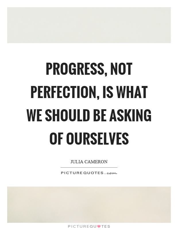 Progress, not perfection, is what we should be asking of ourselves Picture Quote #1