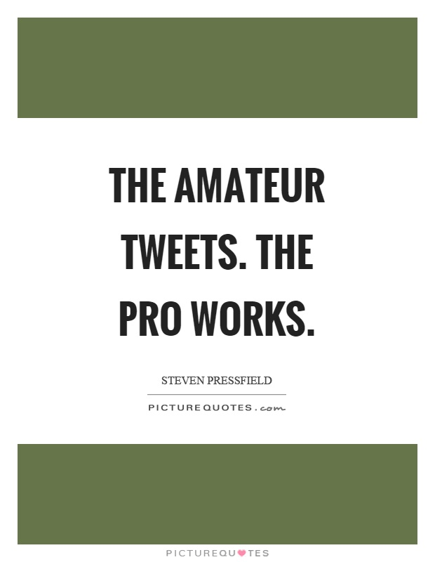 The amateur tweets. The pro works Picture Quote #1