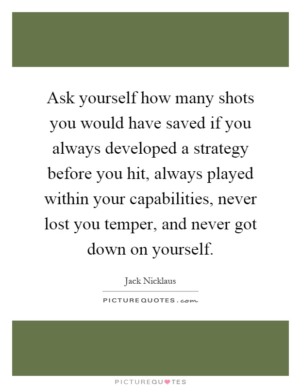 Ask yourself how many shots you would have saved if you always developed a strategy before you hit, always played within your capabilities, never lost you temper, and never got down on yourself Picture Quote #1