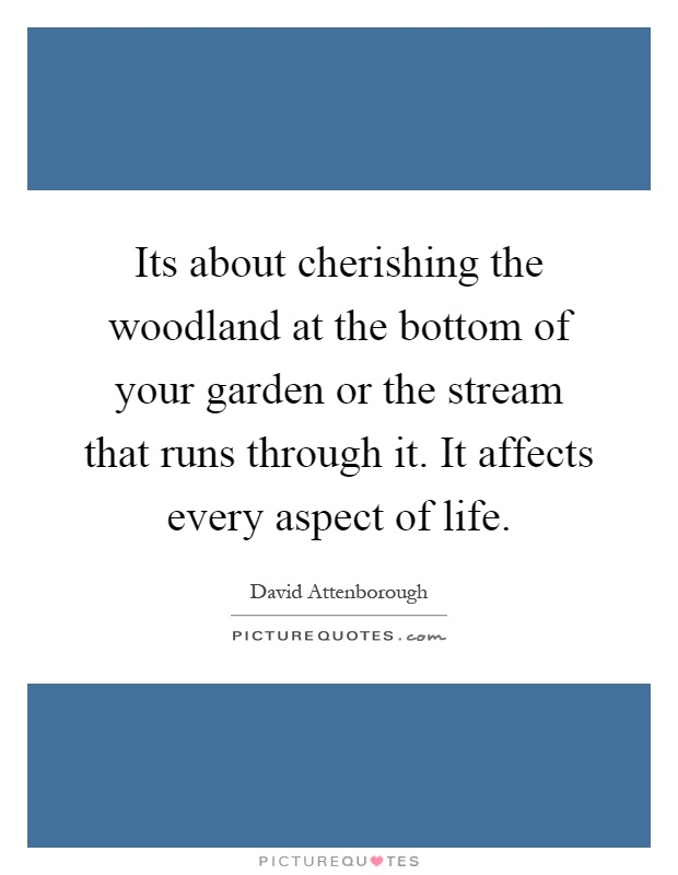 Its about cherishing the woodland at the bottom of your garden or the stream that runs through it. It affects every aspect of life Picture Quote #1