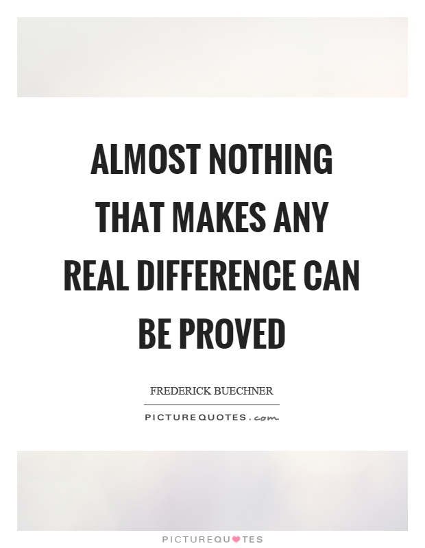 Almost nothing that makes any real difference can be proved Picture Quote #1