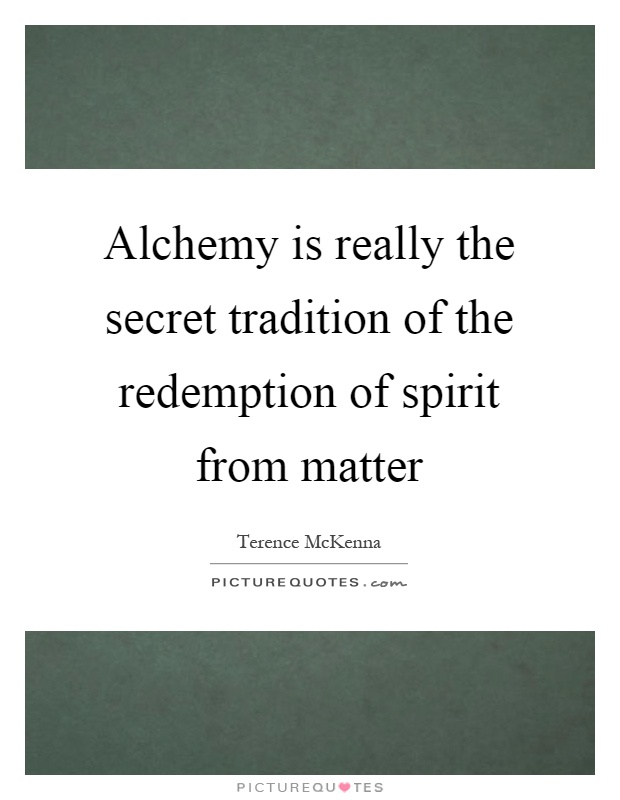 Alchemy is really the secret tradition of the redemption of spirit from matter Picture Quote #1