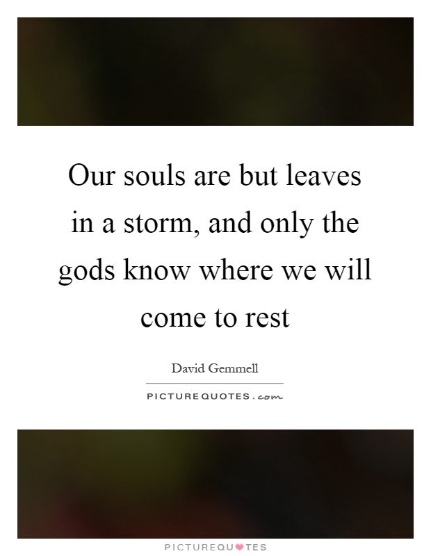 Our souls are but leaves in a storm, and only the gods know where we will come to rest Picture Quote #1