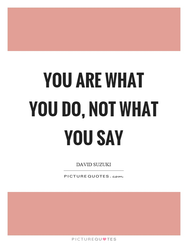 You are what you do, not what you say Picture Quote #1