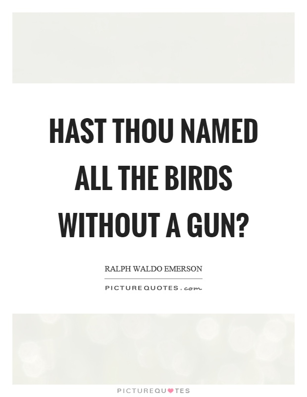 Hast thou named all the birds without a gun? Picture Quote #1