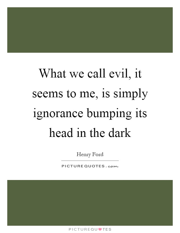 What we call evil, it seems to me, is simply ignorance bumping its head in the dark Picture Quote #1