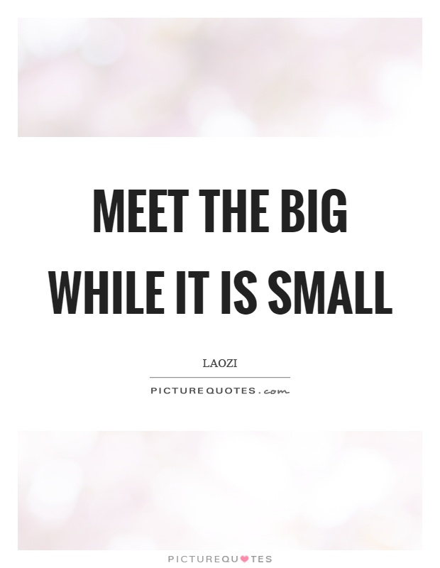 Meet the big while it is small Picture Quote #1