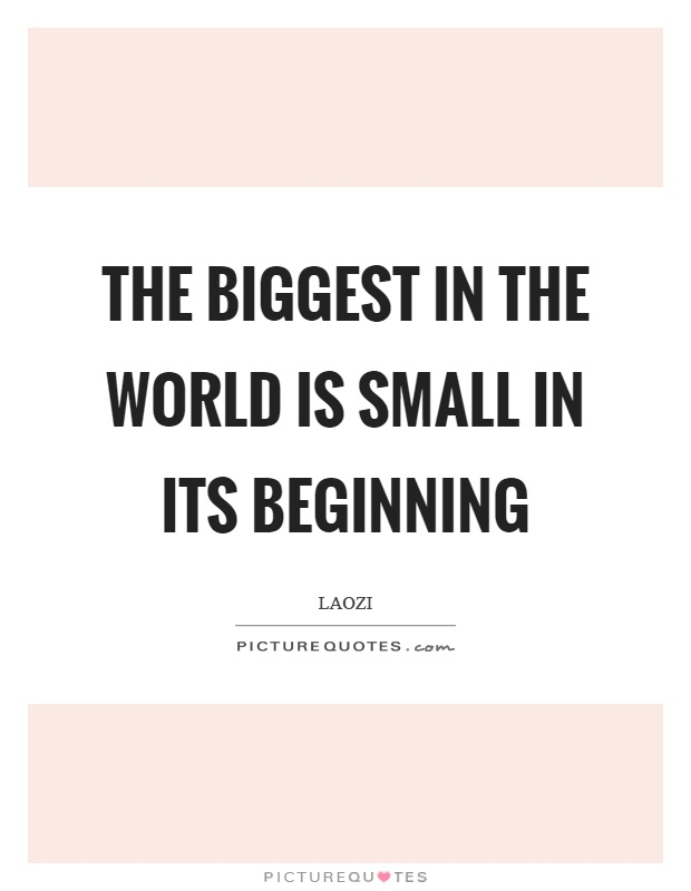 The biggest in the world is small in its beginning Picture Quote #1