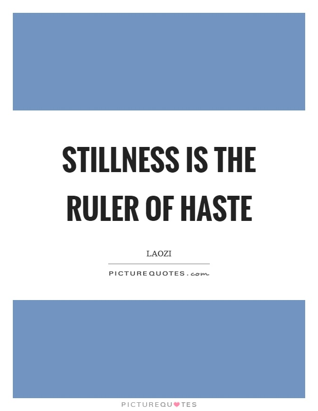 Stillness is the ruler of haste Picture Quote #1