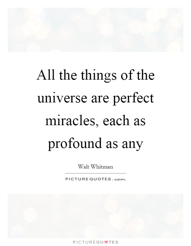 All the things of the universe are perfect miracles, each as profound as any Picture Quote #1
