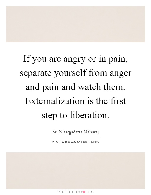 If you are angry or in pain, separate yourself from anger and pain and watch them. Externalization is the first step to liberation Picture Quote #1