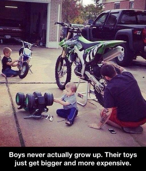 Boys never actually grow up. Their toys just get bigger and more expensive Picture Quote #1