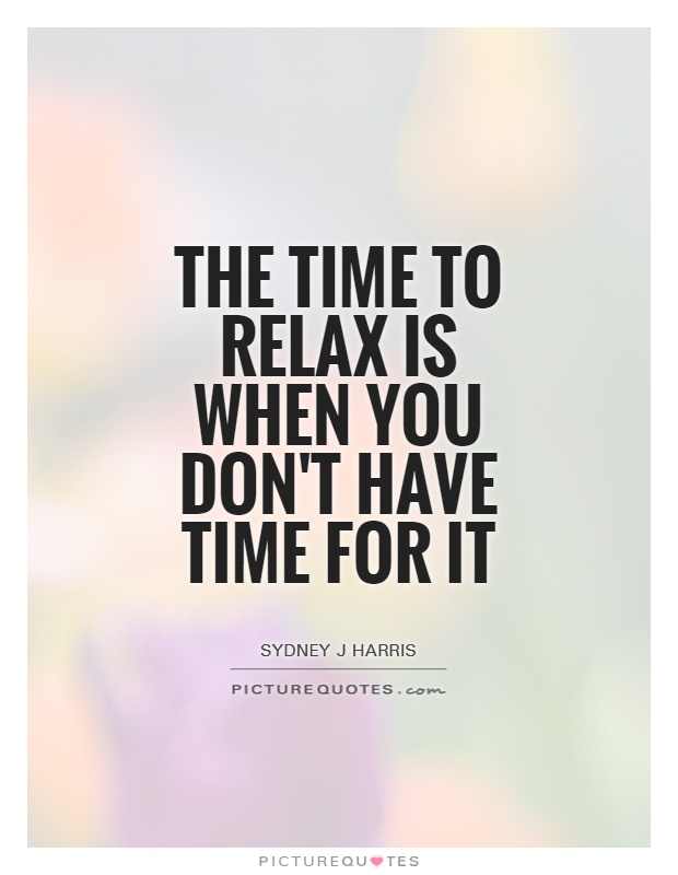 The time to relax is when you don't have time for it Picture Quote #1