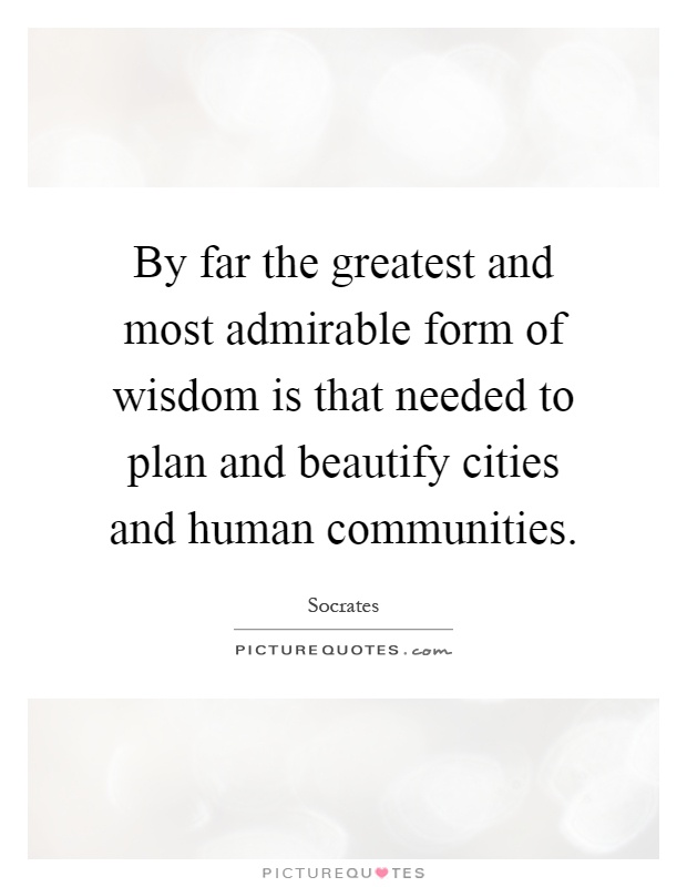 By far the greatest and most admirable form of wisdom is that needed to plan and beautify cities and human communities Picture Quote #1