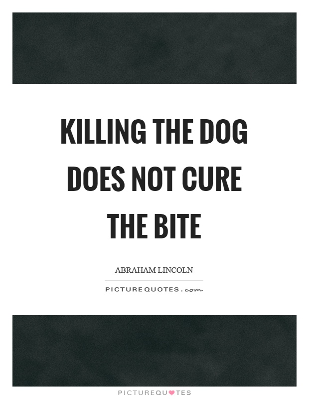 Killing the dog does not cure the bite Picture Quote #1