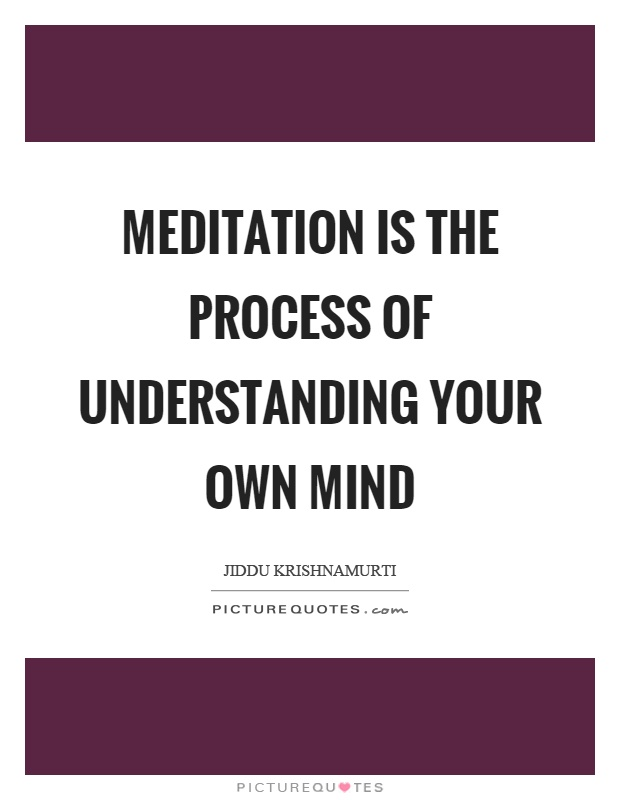 Meditation is the process of understanding your own mind Picture Quote #1