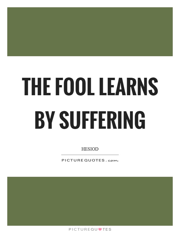 The fool learns by suffering Picture Quote #1