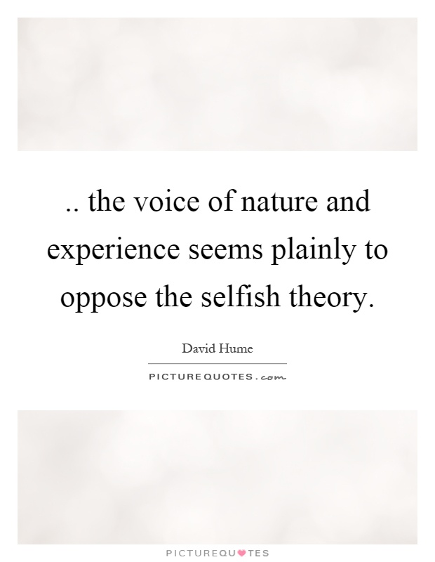 Altruism and Nature Fundamentally Selfish