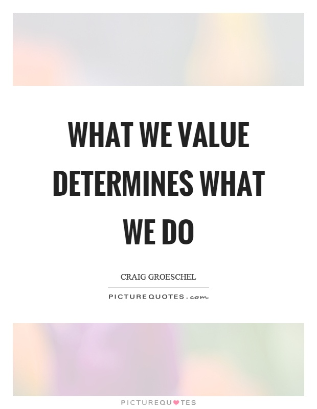 What we value determines what we do Picture Quote #1