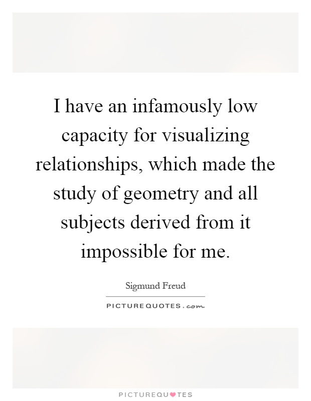 I have an infamously low capacity for visualizing relationships, which made the study of geometry and all subjects derived from it impossible for me Picture Quote #1