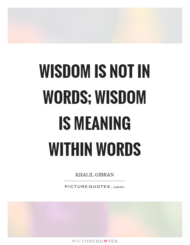 Wisdom is not in words; Wisdom is meaning within words Picture Quote #1