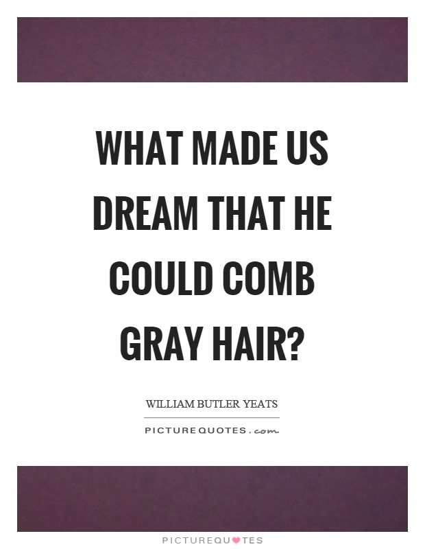 What made us dream that he could comb gray hair? Picture Quote #1