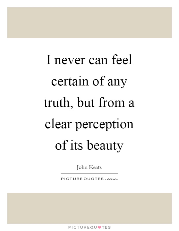 I never can feel certain of any truth, but from a clear perception of its beauty Picture Quote #1