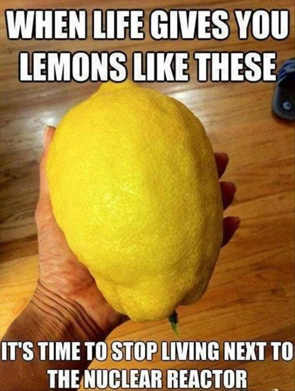 When life gives you lemons like these it's time to stop living next to the nuclear reactor Picture Quote #1