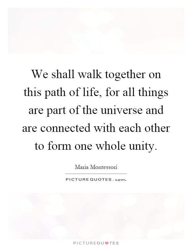 We shall walk together on this path of life, for all things are part of the universe and are connected with each other to form one whole unity Picture Quote #1