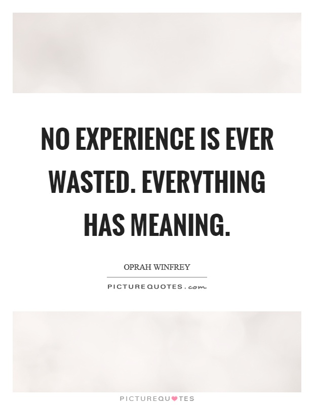 No experience is ever wasted. Everything has meaning Picture Quote #1
