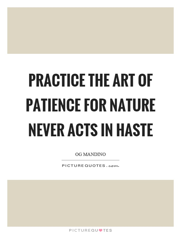 Practice the art of patience for nature never acts in haste Picture Quote #1