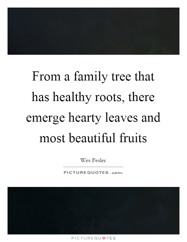 From a family tree that has healthy roots, there emerge hearty leaves and most beautiful fruits Picture Quote #1