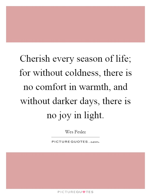 Cherish every season of life; for without coldness, there is no comfort in warmth, and without darker days, there is no joy in light Picture Quote #1