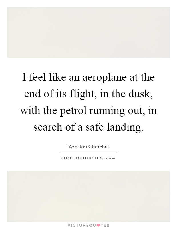I feel like an aeroplane at the end of its flight, in the dusk, with the petrol running out, in search of a safe landing Picture Quote #1