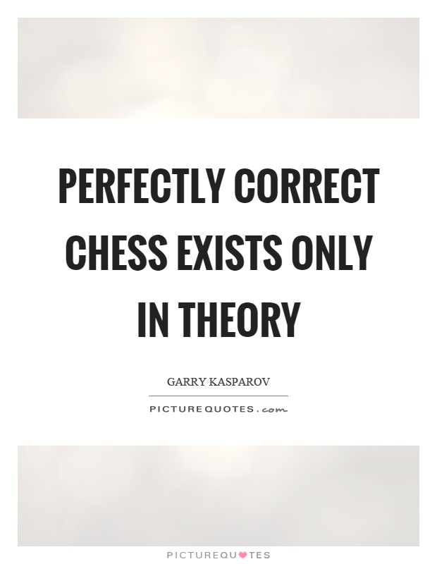 Perfectly correct chess exists only in theory Picture Quote #1
