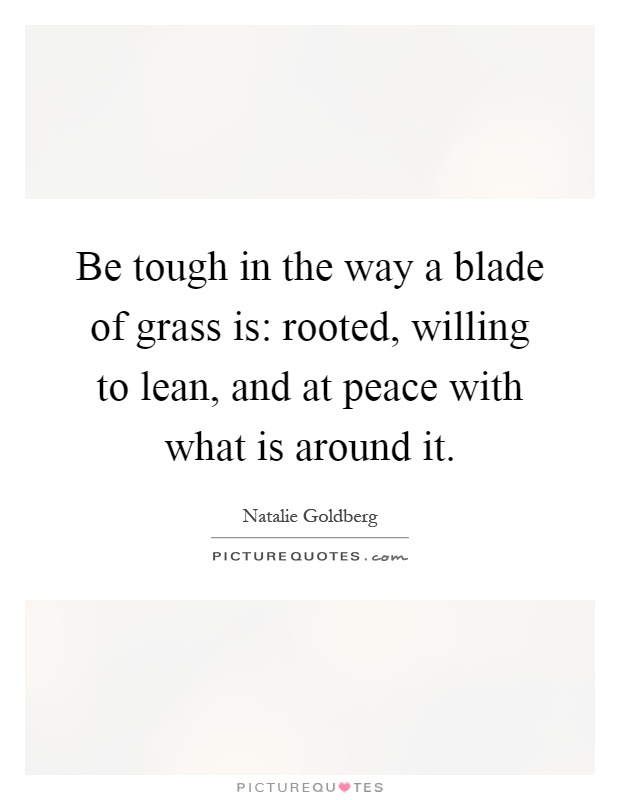 Be tough in the way a blade of grass is: rooted, willing to lean, and at peace with what is around it Picture Quote #1