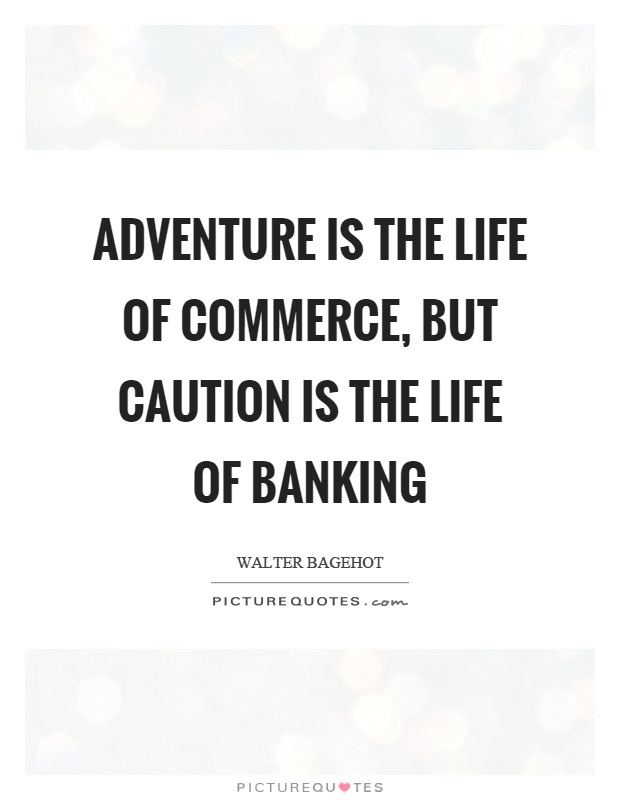 Adventure is the life of commerce, but caution is the life of banking Picture Quote #1