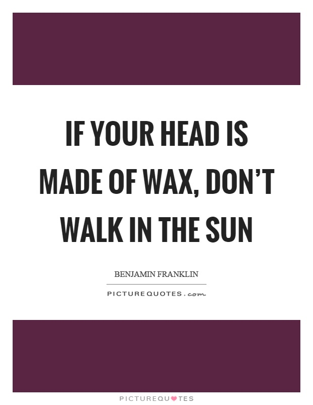 If your head is made of wax, don't walk in the sun Picture Quote #1