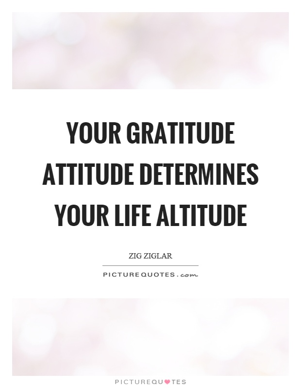 Your gratitude attitude determines your life altitude Picture Quote #1