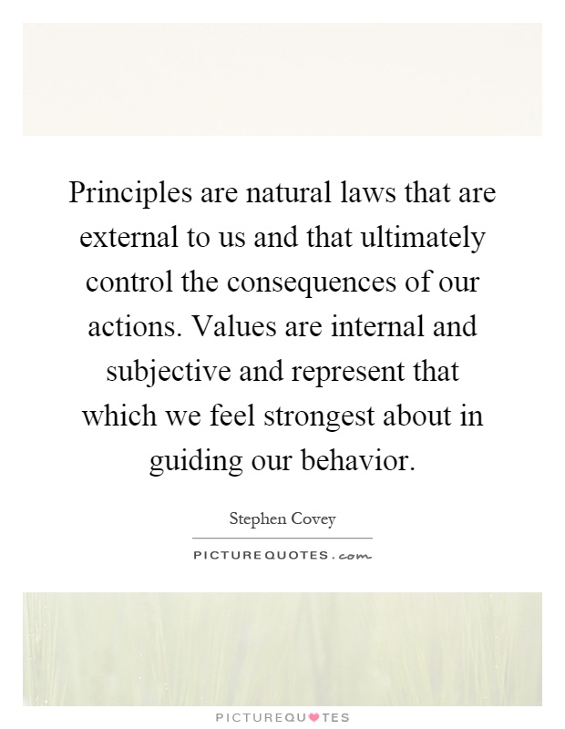 Principles are natural laws that are external to us and that ultimately control the consequences of our actions. Values are internal and subjective and represent that which we feel strongest about in guiding our behavior Picture Quote #1