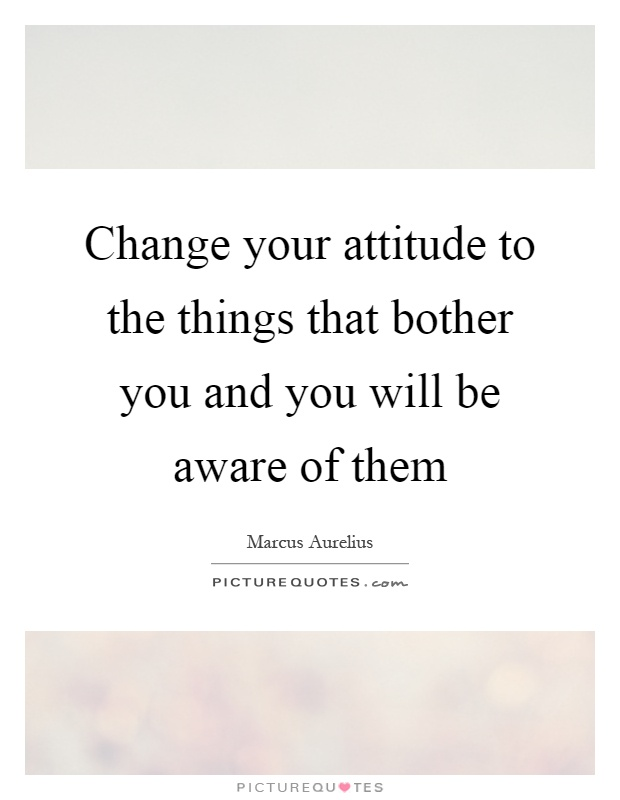 Change your attitude to the things that bother you and you will be aware of them Picture Quote #1