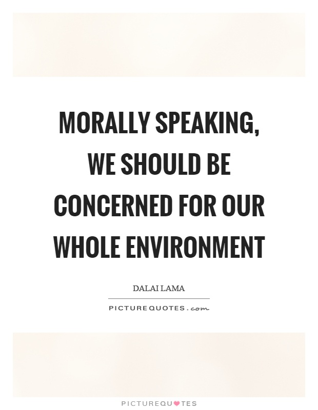 Morally speaking, we should be concerned for our whole environment Picture Quote #1