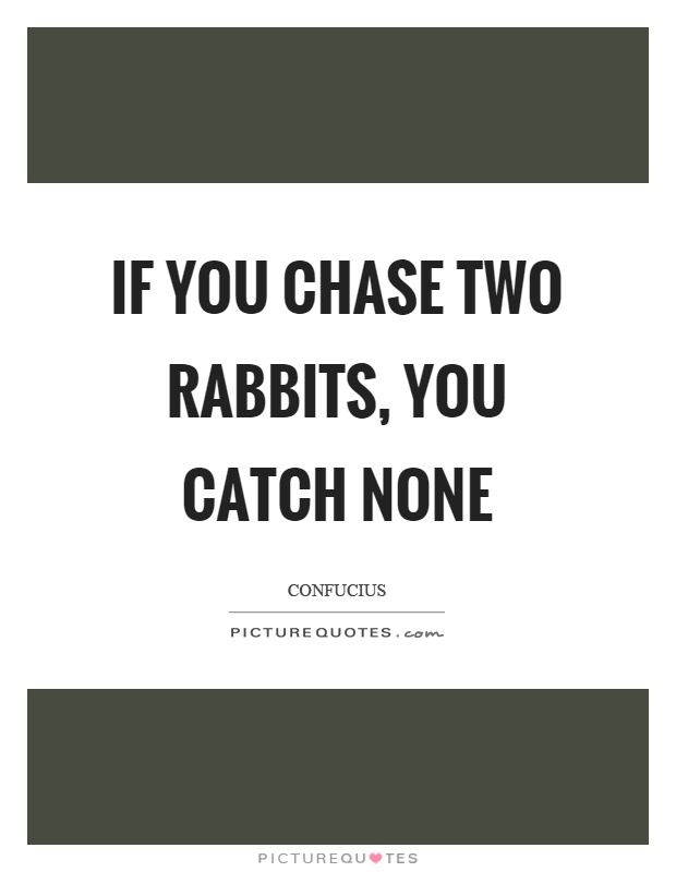 If you chase two rabbits, you catch none Picture Quote #1