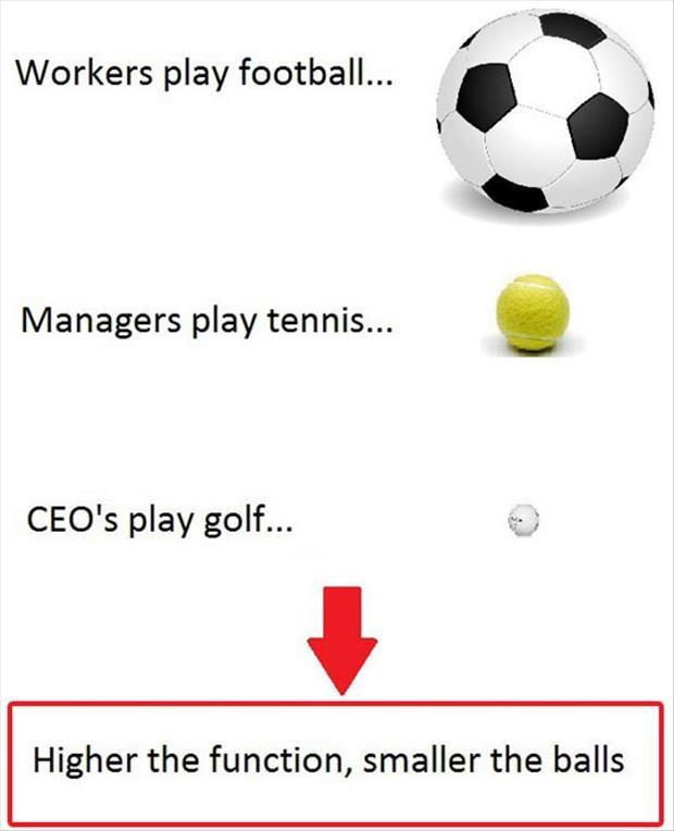 Workers play football. Managers play tennis. CEO's play golf. Higher the function, smaller the balls Picture Quote #1