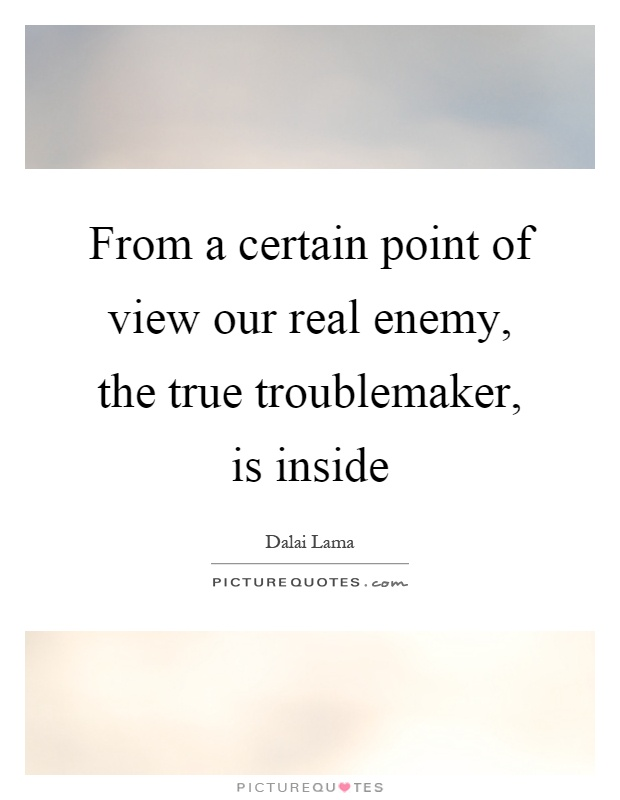 From a certain point of view our real enemy, the true troublemaker, is inside Picture Quote #1