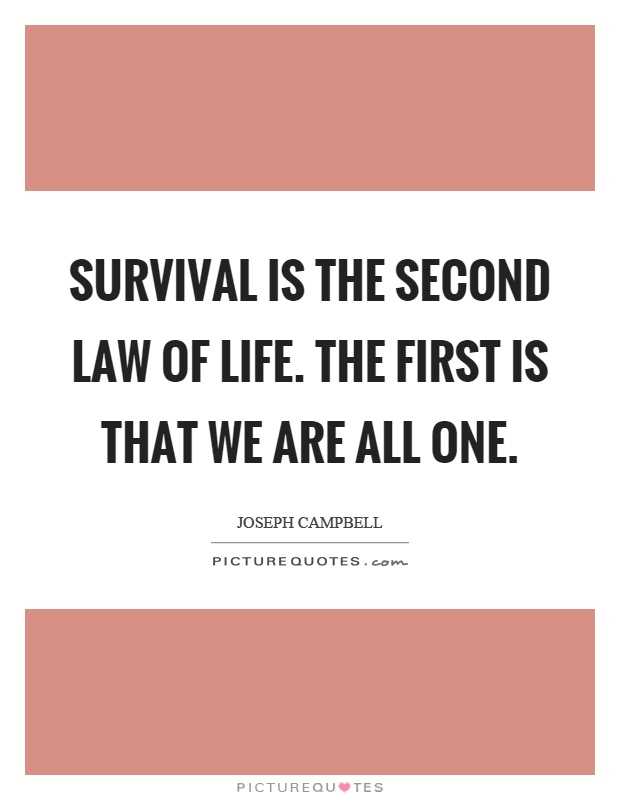 Laws Of Life Quotes Fair Survival Is The Second Law Of Lifethe First Is That We Are All