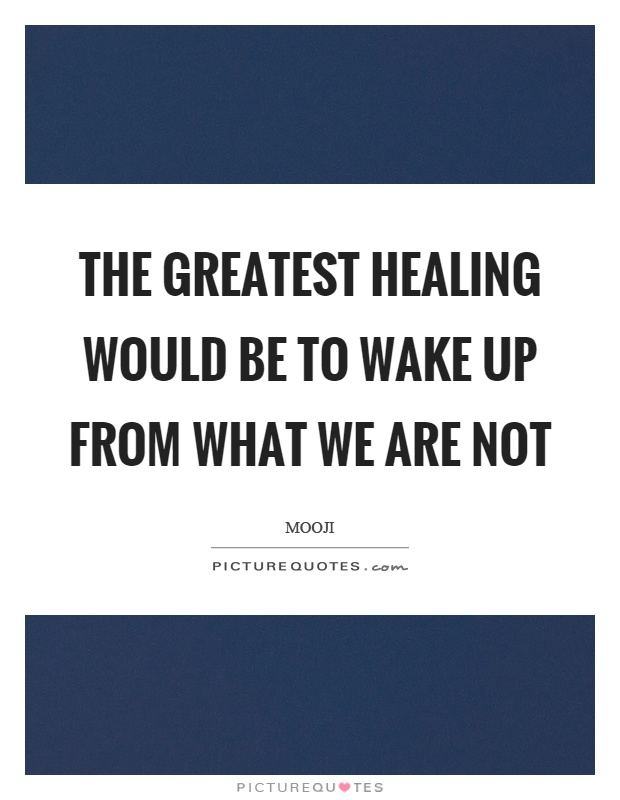 The greatest healing would be to wake up from what we are not Picture Quote #1