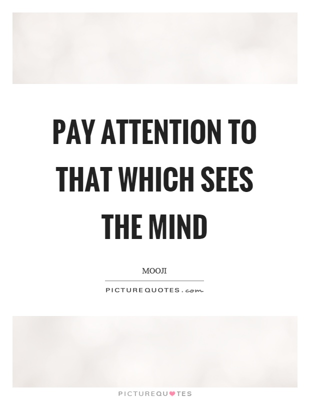 Pay attention to that which sees the mind Picture Quote #1