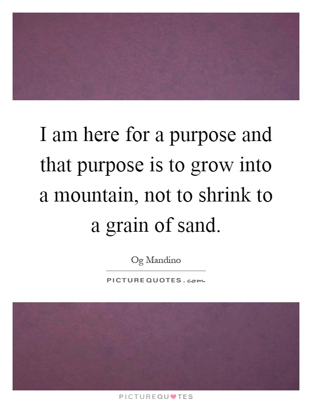 I am here for a purpose and that purpose is to grow into a mountain, not to shrink to a grain of sand Picture Quote #1