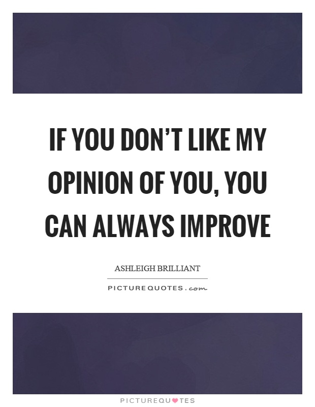 If you don't like my opinion of you, you can always improve Picture Quote #1